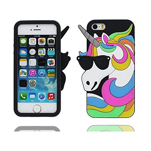Case iPhone 5 Hülle, TPU materielles flexibles Handyhülle iPhone 5G / SE / 5C / 5s Cover, Schock-Beweis [ 3D Cartoon Einhorn unicorn Sonnenbrille ] - Pretty Soft