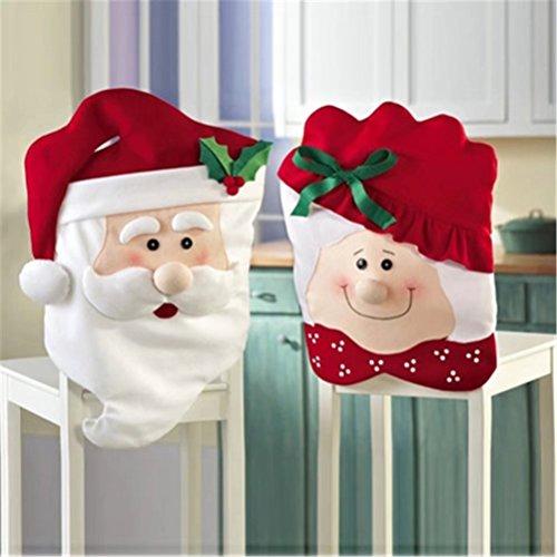 Weihnachten Küche Stuhl Slip umfasst die mit Mr & Mrs Santa Claus für Urlaub Party Festival Halloween Küche Esszimmer Stühle (Set von 4) (Santa Für Halloween)