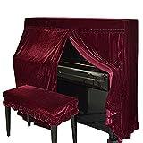 Domii. Home Housse de piano poussière en velours et Piano Banc de double Coque décoré avec macramé Protègent de la poussière et des rayures rouge foncé