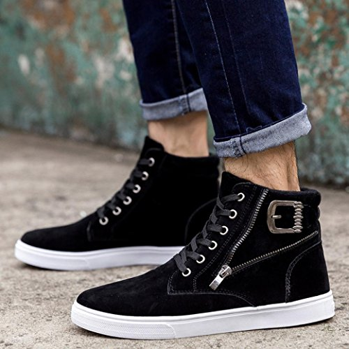 HCFKJ Hommes Mode Haut Haut Hommes Chaussures Occasionnelles de Toile Respirant Chaussures Lace-Up Noir