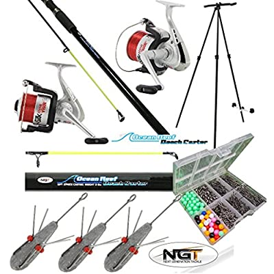Sea Fishing Set - 2 X 12ft Beachcaster Rods + 2 X Sea Reels + Tripod + Tackle from NGT