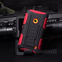 Nokia Lumia 630 / 635 Funda, Cocomii Robot Armor NEW [Heavy Duty] Premium Belt Clip Holster Kickstand Shockproof Hard Bumper Shell [Military Defender] Full Body Dual Layer Rugged Cover Case Carcasa Microsoft (Red)
