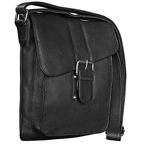 STILORD Borsa a tracolla Uomo Vintage Design Messenger Bag classico in vera pelle antico, Colore:nero nero