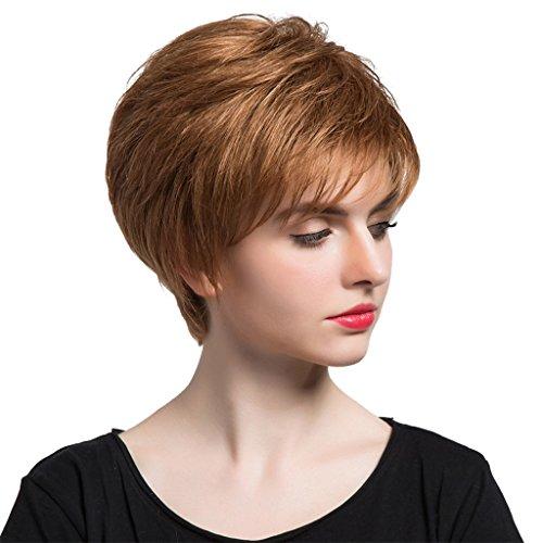 MagiDeal 10 Zoll Damen Kurze Perücken Natürliche Flaumig aus 100% Echte Menschliche Haare Perücken, Party Cosplay Wig, Hellbraun (Menschliche Haare Perücken)
