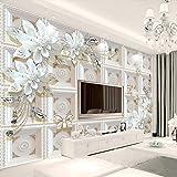 LONGYUCHEN Benutzerdefinierte 3D Seide Wandbild Tapete Geprägtes Muster Ornament Blume Geeignet Für Schlafzimmer Wohnzimmer Tv Hintergrund Wand Dekoration Wandbild,80Cm(H)×150Cm(W)