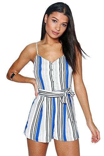 Bleu Femmes Bella Belted Banded Cami Playsuit Bleu