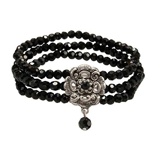 Alpenflüstern Perlen-Trachten-Armband Frederike - elastische mehrreihige Trachten-Armkette mit Strass-Mittelteil, eleganter Damen-Trachtenschmuck, Perlenarmband schwarz ()