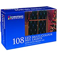 The Christmas Workshop 108 LED Static Net Lights, Multi-Coloured