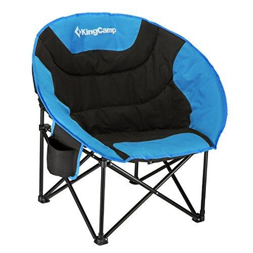 KingCamp Moon Chair Easy-Up Campingstuhl bis 120 kg belastbar Campingsessel Klappstuhl Angelstuhl für Camping Angeln Wandern Picknick mit Tragetasche, 84×70×40/80 cm, 84×70×40/80 cm, Blau