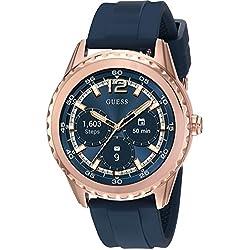 Guess Mujer Conectar el reloj inteligente pantalla táctil Android Wear rosa tono dorado de acero inoxidable con correa de silicona azul