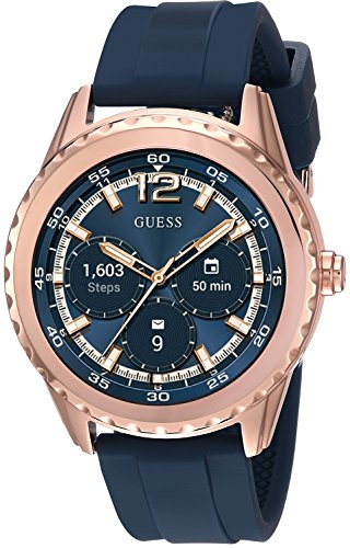 Guess Women's Stainless Steel Android Wear Touch Screen Silicone Smart Watch, Color: Blue (Model: C1002M2)