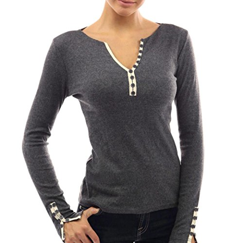 Amlaiworld Ragazze Donna Solido Bottoni V collo T-shirt manica lunga camicetta Grigio