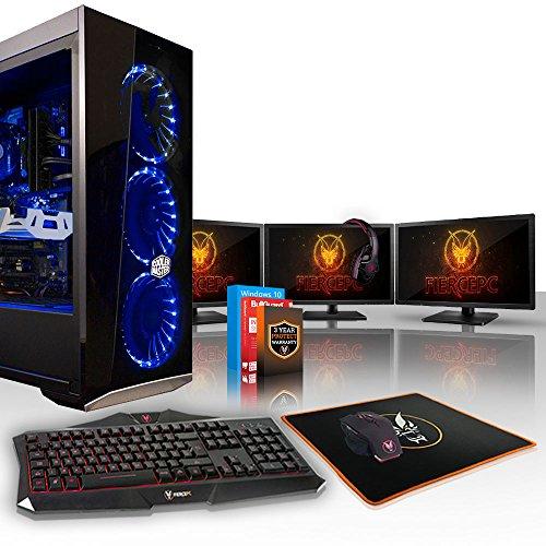 Fierce Python High-End Gaming PC Bundeln - 4.5GHz Hex-Core Intel Core i5 8600K, 1TB HDD, 16GB, NVIDIA GeForce RTX 2070 8GB, Win 10, Tastatur (QWERTY), Maus, 3X 21.5-Zoll-Monitore, Headset 884896