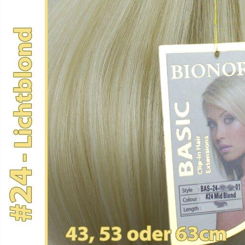 Clip-in Haar Extensions mit Echthaar, #24, Lichtblond, in 40cm, 50cm od. 60cm (+), BASIC von BIONORA, Haarverlängerung