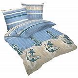 Schlummerglück Bettwäsche Marine, Bettdeckenbezug: ca. 200cm x 200cm, Kissenbezug ca. 70cm x 90cm, 100% Reine Baumwolle