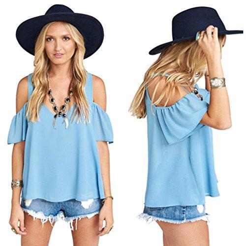Transer Damen Sommer Dünne Chiffon Tops V-Ausschnitt Schulterfrei Himmelblau Schwarz Khaki Weiß Shirt Solide Wickelbluse Himmelblau