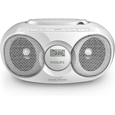 Philips AZ318W/12 reproductor de CD - Unidad de CD (FM, C size (LR14), Color blanco)