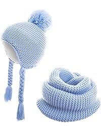 100% Baumwolle Kinder Winter Kombi-Set aus Schal und passender Bindemütze / 1,5 bis 3 Jahre