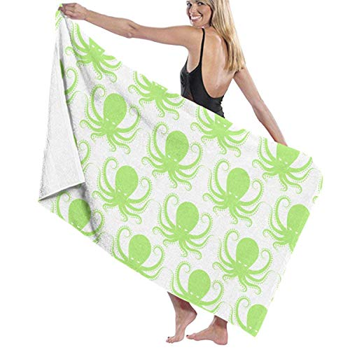 xcvgcxcvasda Serviette de bain, Extra Large, Quick Dry, Compact & Ultra Absorbent Microfiber Towel. Luxurious Feel & Vibrant Colors (Green Octopus) -