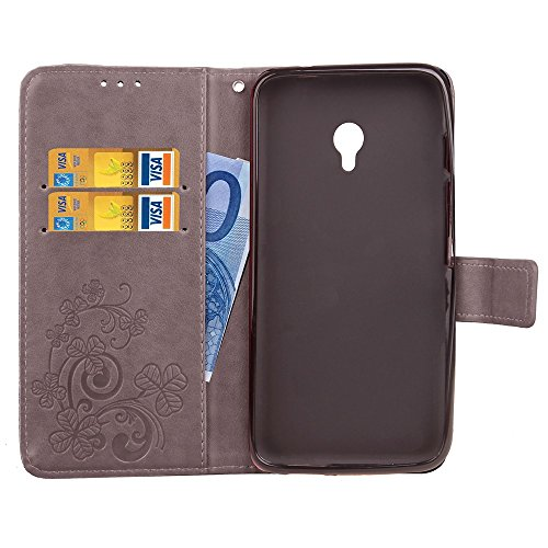 Double Magnetic Back Sucktion Retro Style PU Leder Flip Stand Case mit Kickstand und Wallet Beutel Funktion für Meizu Meilan Note 5 ( Color : Gray ) Gray