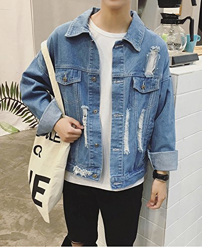 Herren und Jungen Jeansjacke Ripped Denim Jacket, Oversize destroyed Look Jacke Blau