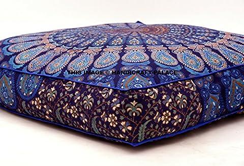 Coussins de sol indiens / poufs ottomans carrés, au motif de paon ou de mandala, vendus par Handicraft-Palace