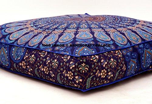 Kissenbezug für indische Bodenkissen, quadratisch, Mandala, Boho, Ottoman, von Handicraft-Palace