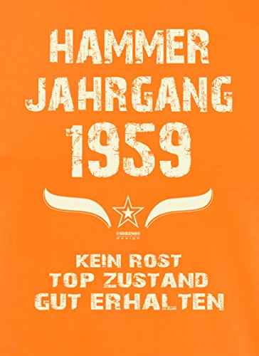 Geschenk zum 58. Geburtstag :-: Geschenkidee Herren Geburtstags T-Shirt mit Jahreszahl :-: Hammer Jahrgang 1959 :-: Geburtstagsgeschenk für Männer :-: Farbe: orange Orange