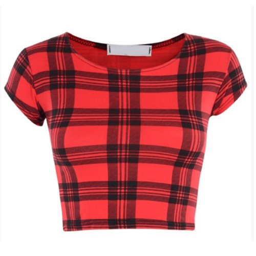CROP TOP POUR FEMME MOTIF TARTAN BANG CHIEN IMPRIMÉ DENTS T-SHIRT - TARTAN RED