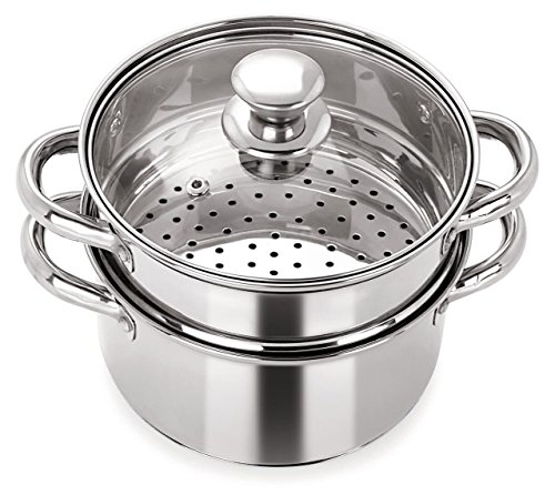Pristine Stainless Steel Induction Base Tri Ply 2 Tier Multi Purpose Steamer/Modak Maker with Glass Lid, 18Cm
