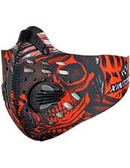 Máscara de Avanigo antipolvo, antipolen, antiescapes de gas de carbono activo para deportes al aire libre (ciclismo, athletismo), rojo