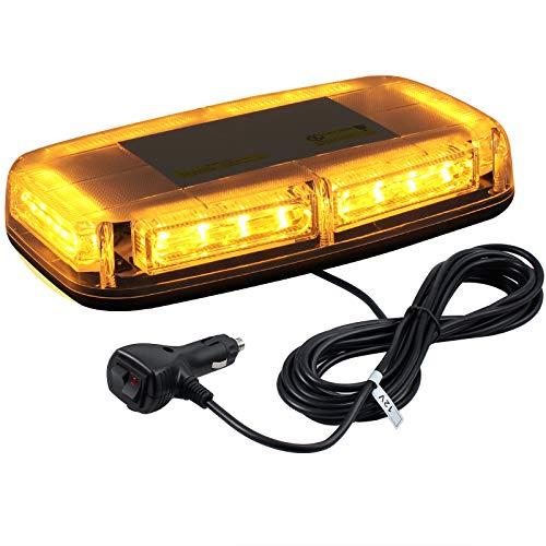 Auto Rundumleuchte 24 LED 12V/ 24V Wasserdicht Warnleuchte mit Doppelschalter 5M Zigarettenanzünder Kabel 7 Blitzmodus 24W Bernstein Notbeleuchtung LED Licht für Auto LKW SUV