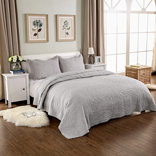 Qucover GesteppteTagesdecke aus Baumwolle inkl. 2 Kissenbezüge Übergroße Bettüberwurf mit Paisley-Muster (Grau, 250 x 270 cm) - Tagesdecke Mit