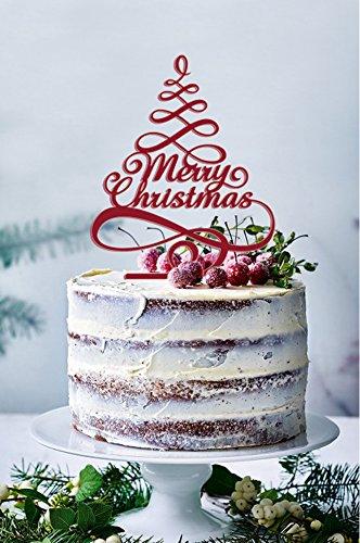 USA-SALES Merry Christmas Kuchen Topper, Farbe Rot glänzend, Weihnachten Kuchen Dekorationen, Weihnachten Party Dekorationen, Verkäufer