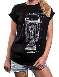 Print Shirt Hipster - Android Blueprint Oversize Tshirt kurzarm Rundhals Top