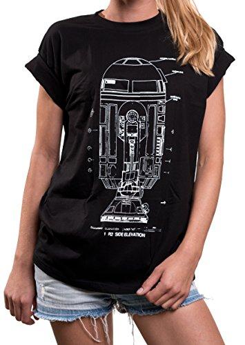 Print Shirt Damen Hipster - Android Star Blueprint Oversize Tshirt kurzarm Rundhals Top große Größe M