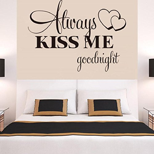 Dog Hot Dekorationen (Wand Aufkleber 57 x 42 cm Transer® Hot Wandtattoo Always Kiss Me Goodnight Wandtattoo Zitat Aufkleber Abnehmbare Aufkleber Schlafzimmer Wand Aufkleber für Familie)