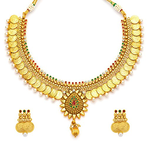 YouBella Traditional Jewellery Temple coin Necklace Set with Earrings for Women : Best Rakhi Gift Jewellery