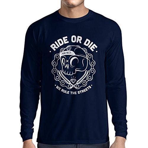 N4611L Camiseta de manga larga Ride or Die (Small Azul Multicolor)