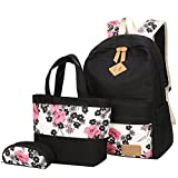 Schulrucksack Schulrucksäcke Canvas Rucksack Floral Für Schule Rucksäcke Damen Schultertasche Handtasche Federmäppchen Brieftasche Coole Rucksäcke Schultaschen Für Jugendlich Mädchen Schwarz