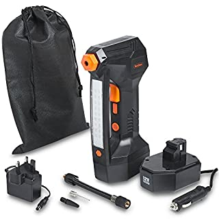 VonHaus Cordless Digital Tyre Inflator Pump - Handheld Battery Operated Air Compressor, Max Pressure 125 PSI Includes LCD Display, LED Light, Narrow Pin Attachments & Car Adapter