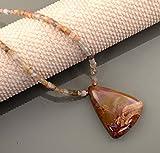 Collar hecho a mano con diseño de piedra lunar y jaspe imperial, chapado...