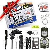 Exqline 12-in-1 Survival Set Überlebensset Survival Kit Set Selbsthilfe Set Survival Set Outdoor Sicherheitsausrüstung