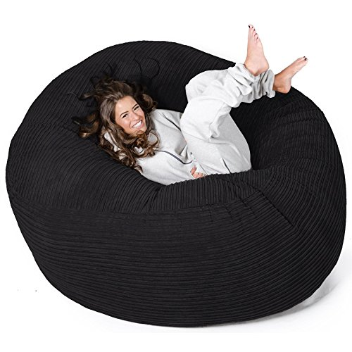LOUNGE PUG – MEGA MAMMOTH Beanbag BLACK Cord – MASSIVE XXL size - ideal for  Bedrooms 9185c50672d5c