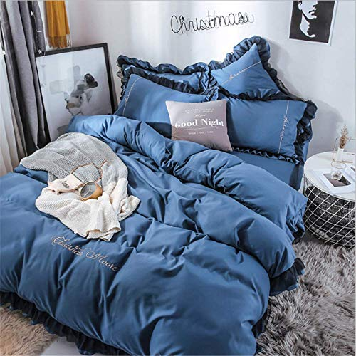 Vogue Fang Rüschen Edge Kit einfarbig Spitze Bestickt koreanische Student Plain Vier-teiliges Set KönigsblauBettdeckenbezug 2,0 m 2,2 * 2,4 m Bettlaken 2,35 * 2,6 m Kopfkissenbezug * 2