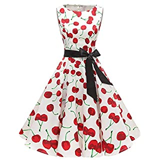 Gardenwed Women's 50s 60s Rockabilly Cocktail Dress Sleeveless Vintage Prom Swing Party Dress White Cherry L
