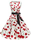 Gardenwed Damen 1950er Vintage Cocktailkleid Rockabilly Retro Schwingen Kleid Faltenrock White Cherry XL