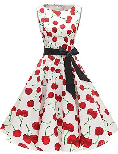 Gardenwed Damen 1950er Vintage Cocktailkleid Rockabilly Retro Schwingen Kleid Faltenrock White Cherry S