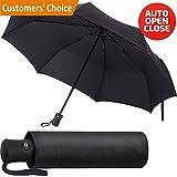 Regenschirm - Winddicht Regenschirm - Kompakt Reise und Stabiler Taschenschirm mit Auf-Zu-Automatik für Damen und Herren (Schwarz)