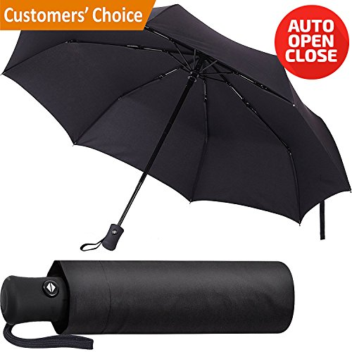Regenschirm - Winddicht Regenschirm - Kompakt Reise und Stabiler Taschenschirm mit Auf-Zu-Automatik für Damen und Herren (Schwarz) (Herren Den Kopf Großen Gehen)